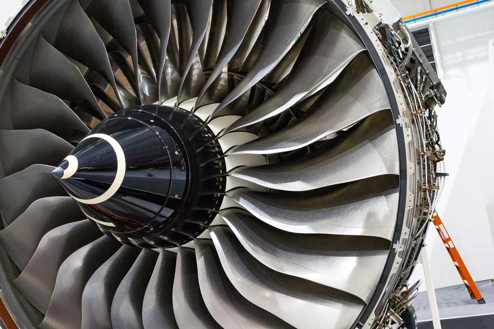 Close up of the next generation of aircraft engines